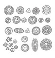 set of cloth buttons in different boho style vector image