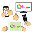 Set of hands and devices vector image