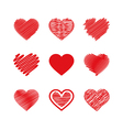 Set of valentines hearts vector image