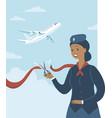 stewardess cuts red ribbon to start flights vector image