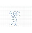 strong business man hero sketch over squared paper vector image