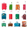 travel suitcases backpacks bags plastic vector image