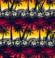 Tropical palm tree at sunset with hibiscus flowers vector image vector image