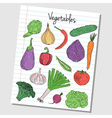 vegetables doodles lined paper colored vector image vector image