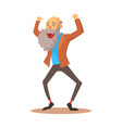 happy laughing old man standing with raised arms vector image