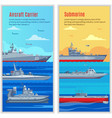 Military Ships Vertical Banners vector image