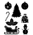 christmas objects set icons black outline vector image