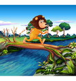 A lion running while crossing the river vector image vector image