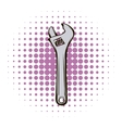 Adjustable wrench comics icon vector image vector image