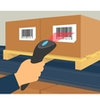 Barcode scanning at the warehouse vector image vector image