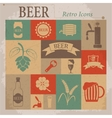 Beer Flat Retro Icons vector image vector image