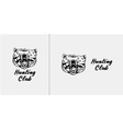 Black and white bear head emblem symbol logotype vector image