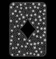 bright mesh 2d diamonds playing card with flare vector image vector image