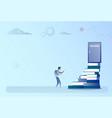 business man climb books stack to success door vector image vector image