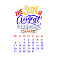 calendar for august 2 0 1 8 hand drawn vector image