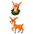 cartoon christmas deer wearing santa hat vector image