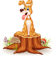 Cartoon dog sitting with tongue out on tree stump vector image vector image