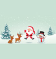cartoon santa claus reindeer and snowman vector image vector image