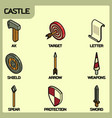 castle color outline isometric icons vector image vector image