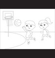 children playing basketball black and white vector image