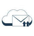 cloud computing and email blue lines vector image vector image