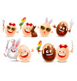 easter eggs realistic characters set vector image