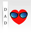 Fathers day card with red heart wearing goggles vector image vector image