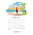 freelance poster freelancer working on laptop vector image vector image