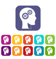 gears in human head icons set flat vector image vector image