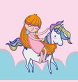 girl with unicorn cute cartoon vector image