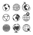 globe and earth geography graphic icon set vector image vector image
