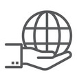 globe on hand line icon ecology and energy vector image vector image