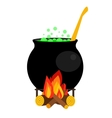 Halloween witch cauldron with green potion vector image vector image
