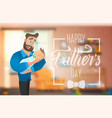 happy fathers day banner with cartoon characters vector image vector image