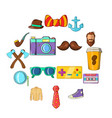 hipster icons set cartoon style vector image vector image