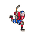 Ice Hockey Player Striking Stick vector image vector image
