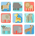 Icons wild animals of africa vector image