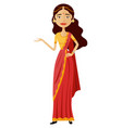 indian woman presents something flat vector image