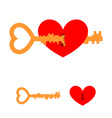 Key and love Key to heart Red love with lock hole vector image
