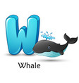 letter w is for whale cartoon alphabet vector image