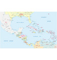 map of central america and the caribbean countries vector image