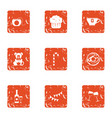 money child icons set grunge style vector image
