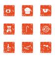 money child icons set grunge style vector image vector image