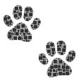 paw footprints composition of squares and circles vector image vector image