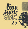 poster for a live music concert with a microphone vector image vector image