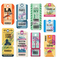 Retro travel luggage labels and baggage tickets vector image