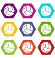 retro volleyball icons set 9 vector image vector image