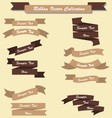 Ribbon set collection chocolate brown vector image