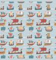seamless pattern with many viking drakkars trendy vector image