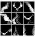 set abstract smoke isolated on black background vector image vector image